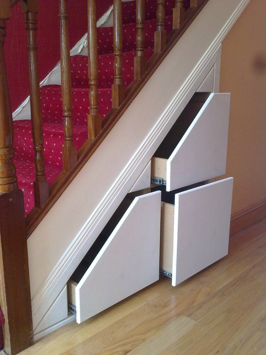 Drawers under stairs ideas about stair drawers on for Diy staircase drawers